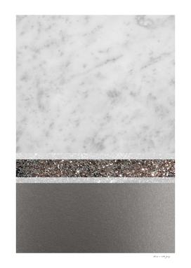 White Marble Silver Glitter Stripe Glam #1 #minimal #decor