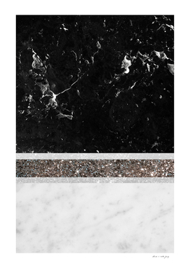 Black and White Marble Silver Glitter Stripe Glam #1
