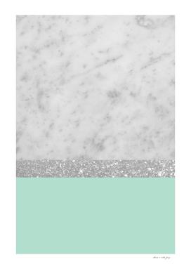 White Marble Mint Silver Glitter Stripe Glam #1 #minimal
