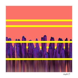 Living Coral Stripes Cactus Landscape Glitch