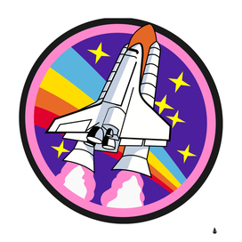badge patch pink rainbow rocket
