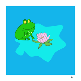 Frog flower lilypad lily pad water