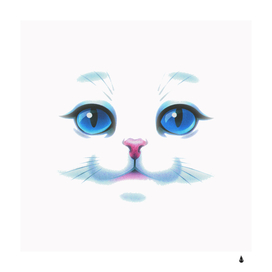 Cute White Cat Blue Eyes Face
