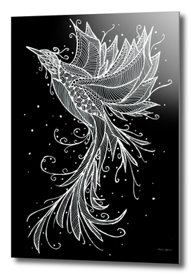 Rising Phoenix White on Black