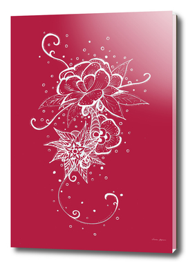 Abstract Rose White on Red