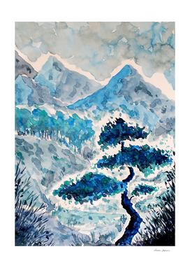 Blue Watercolor Landscape