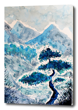 Blue Watercolor Landscape