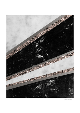Black and White Marble Rose Gold Glitter Stripe Glam #1
