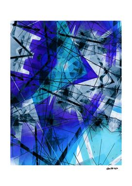 Bound to Blue - Futuristic Geometric Abstrct Art
