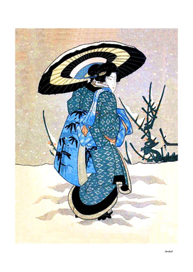 Oriental Lady In Snow Storm