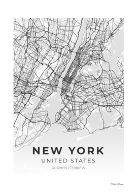 New york City - City Map -New york City Map Wall Print
