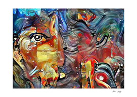 Womans Face Colorful Abstract