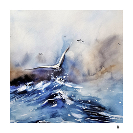 Art painting sea storm seagull
