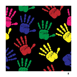 Handprints hand print colourful