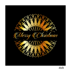 Golden snowflake pattern and Merry Christmas design