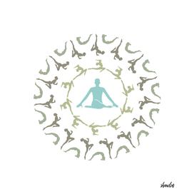 Yoga Mandala- Unique yoga silhouette mandala