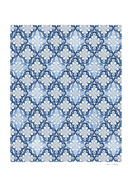 Indigo Blue Moroccan Tile Glam #1 #pattern #decor #art