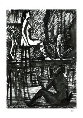 Figure in the interior. Hand drawn Ink Illustration