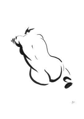 Back. Beautiful woman. ink painting