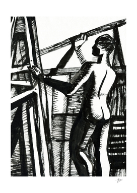 Easels. Silhouette of woman