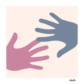 Hands touching- communication business situations
