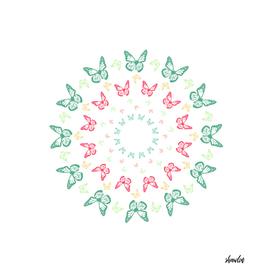 Vivid butterfly kaleidoscope mandala