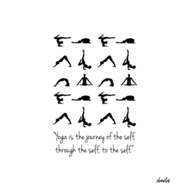 Quote about yoga and silhouette of people in different poses