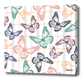 Soft colored flying Butterflies for spring season