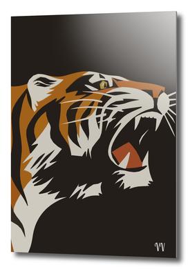Roaring Tiger Vintage Animal Poster
