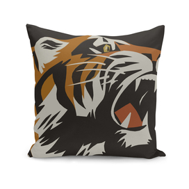 Roaring Tiger Vintage Animal Poster