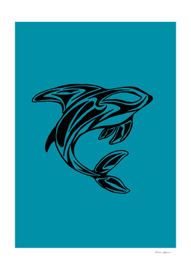 Orca Whale Tattoo Turquoise