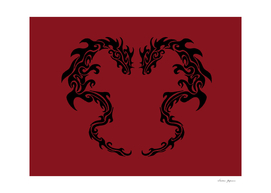 Two Tribal Dragons Red