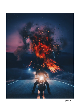Biker appreciating eruption of volcano of fire by GEN Z