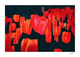 Tulip field, original abstract painting