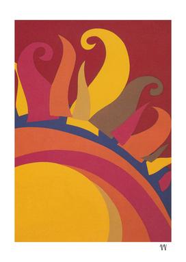 Sun Abstract Retro Vintage Print