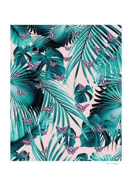 Tropical Unicorn Butterfly Jungle Leaves Pattern #1
