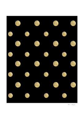 Happy Polka Dots Gold on Black #1 #decor #art