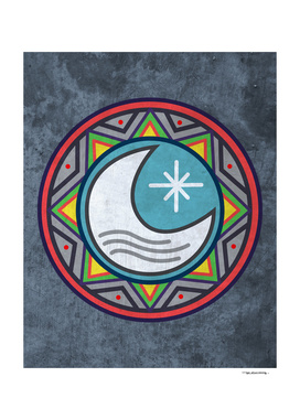 Sun and moon in an indigenous style
