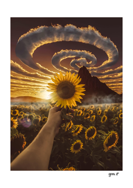 Sunflower and spiral clouds by GEN Z