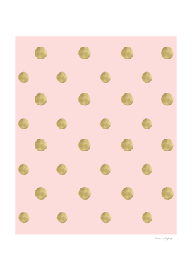 Happy Polka Dots Gold on Blush #1 #decor #art