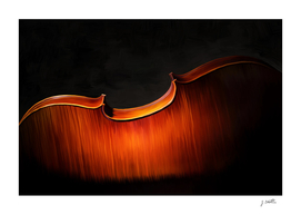 Silhouette of cello, musical painting