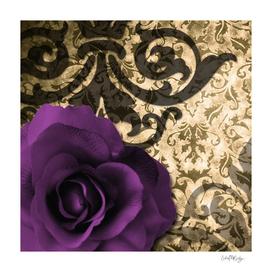 Purple Rose & Vintage Damask