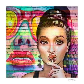 Retro Pinup Girl Lollipop Colorful Graffiti Wall