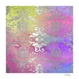 Cool Watercolor & Silver Damask