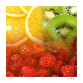 Oranges, Kiwis, & Raspberries Collage