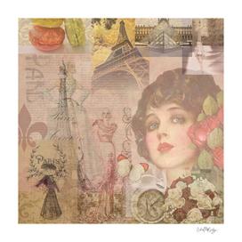 Glamorous & Vintage Paris Abstract Collage