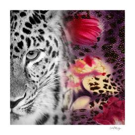 Black & White Leopard & Floral Collage
