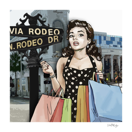 Retro Pinup Girl Shopping on Rodeo Drive