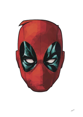 Deadpool Headshot Low Poly Art Print