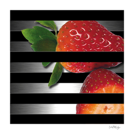 Black & Silver Overlapping Stripes & Strawberries